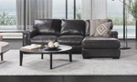 Sofa chaise made of top grain leather hand-crafted in Italy.