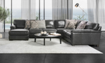 Sectional made of top grain leather hand-crafted in Italy.