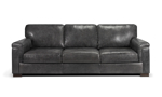 98-Inch wide grey leather couch that was handcrafted in Italy.