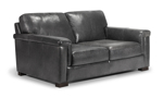 Medici grey leather loveseat is made from top quality leather making it a long lasting piece for your living room.