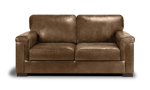 """71"""" wide brown leather loveseat that was handcrafted in Italy."""