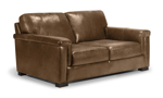 Medici chestnut brown leather loveseat is made from top quality leather making it a long lasting piece for your living room.