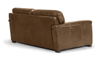 Top-grain leather loveseat from Spagnessi is constructed of a solid hardwood frame and Pirelli webbed support system.