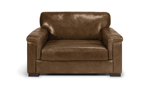 """56"""" wide brown leather accent chair."""