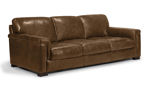 Medici Chestnut Sofa is made of top grain Italian leather and a hardwood frame.