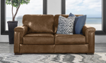 Contemporary leather loveseat made of Italian top grain leather.