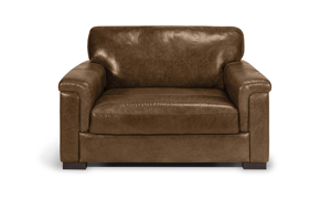 """56"""" wide chestnut brown leather accent chair."""
