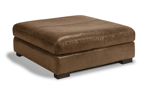 Medici Chestnut leather ottoman handcrafted in Italy on a hardwood frame.