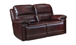 68-inch wide power reclining leather loveseat in a top grain burgundy leather.