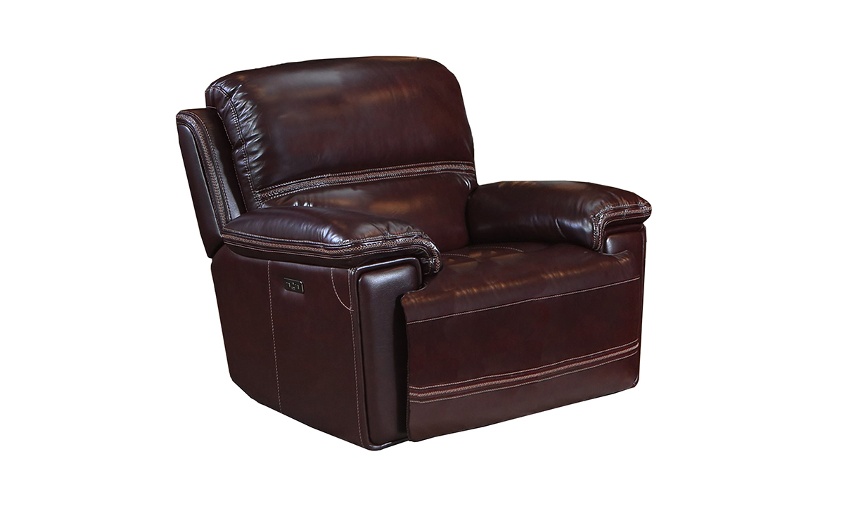"""44"""" wide power recliner made of burgundy top grain leather with a USB charger."""