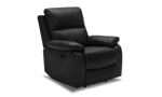 Black leather power recliner constructed with a hardwood frame and sinuous spring.