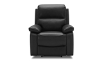 Luxury leather power recliner with adjustable headrest.