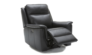 Leather power recliner with winged armrests in a dark grey.