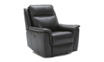 Grey leather power recliner constructed with a hardwood frame and sinuous spring.