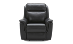 Luxury leather power recliner with winged armrests.