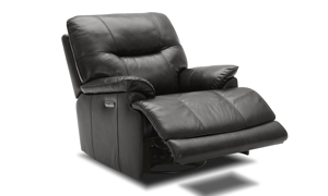 Power recliner made with a dark brown leather.