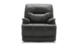 Dark brown leather power recliner constructed with a hardwood frame and sinuous spring.