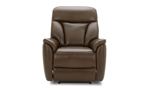 Brown leather power recliner constructed with a hardwood frame and sinuous spring.