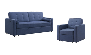 Sleeper set in navy blue looks great in any living room and is perfect fo unexpected guests.