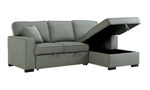 Sleeper sofa with a storage chaise to put all of your bedding or anything else you may want to store.