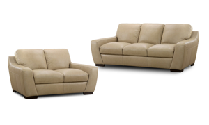 Hercules Taupe Leather 2-Piece Living Room Set