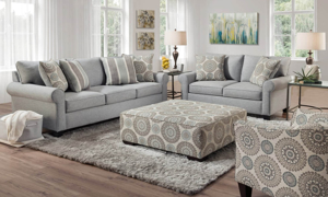 Claiborne living room set includes sofa, loveseat, chair and ottoman.