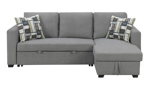 Grey fabric sofa chaise with pop-up sleeper platform and storage chaise.