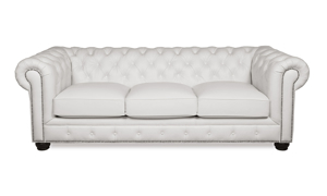 """95"""" wide classic chesterfield sofa with button tufting and nail head trim in a white leather."""