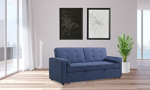 Sofa from Elements International in a nay blue upholstered fabric.