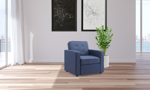 Maverick chair with track arms in a blue fabric.
