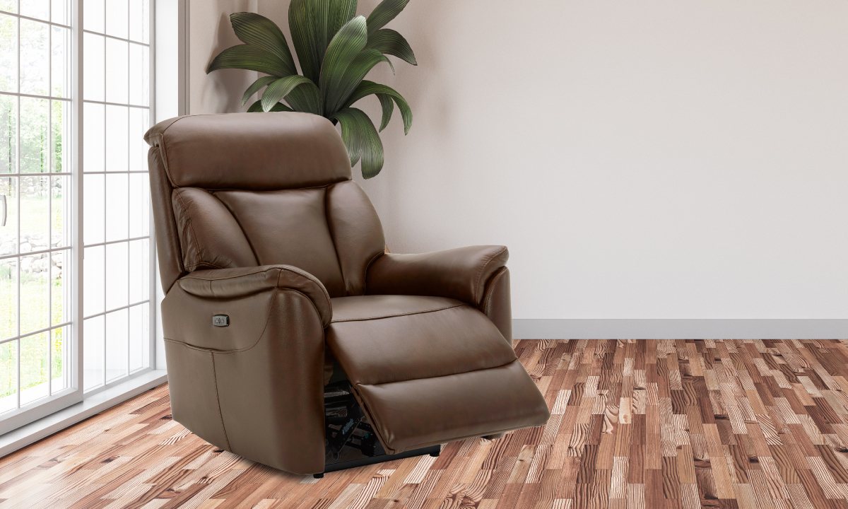 Leather power recliner in a living room.