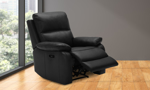 Black leather power recliner from Kuka Home.
