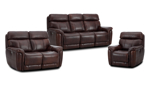 The Ely Living Room Set includes power reclining sofa, loveseat and recliner in a brown top grain leather.