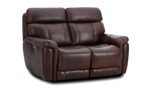 """60"""" wide power reclining leather loveseat made of hardwood frames and sinuous spring."""