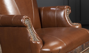 Top grain brown leather office chair made in America.