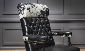 Top grain black leather office chair made in America.