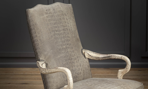 Top grain grey  leather office chair made in America.