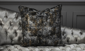 Throw pillow in an abstract grey and black  from Old Hickory Tannery