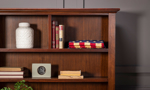 Storage cubbies in the hutch of the Napa Mahogany office set.