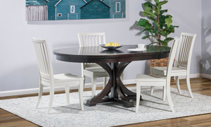 Rachael Ray Everyday Peppercorn Round 5-Piece Dining Set with Sea Salt Slat Back Chairs