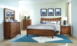 Willows bedroom set from Napa Furniture includes storage bed, dresser and mirror.