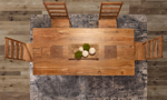 Bird's eye view of the Greenwhich Solid Acacia dining room set.
