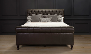 Brown leather sleigh bed from Old Hickory Tannery.