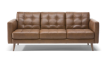 """83"""" wide brown leather couch from Natuzzi."""