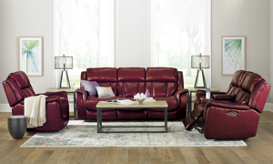 Choose from four colors of our Prodigy Leather Power Reclining set includes sofa, loveseat and recliner.