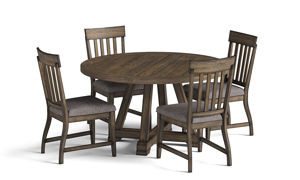 Stone Creek Round Dining Set includes table and four upholstered chairs.