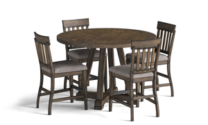 Stone Creek Oak 5-Piece Counter Height Dining Set includes table and 4 upholstered stools.
