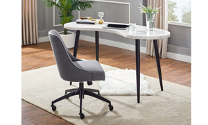 Kinsley White Marble Kidney desk and chair set from Steve Silver.