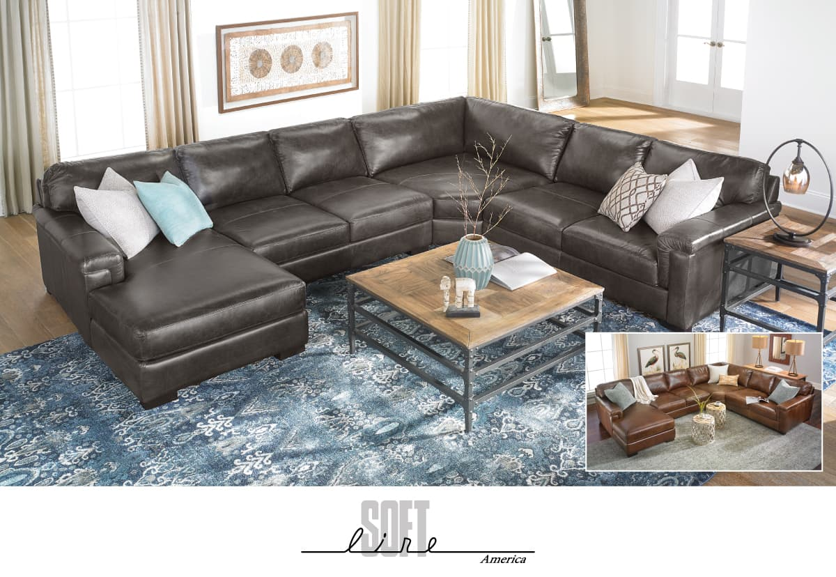 Softline Americal Top-grain Italian Leather Sectional with Left Chaise $3995