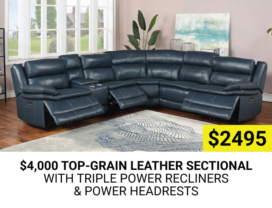 Top-Grain Leather Sectional with Triple Power Recliners and Power Headrests $2495
